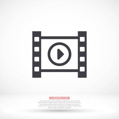 Play the film vector icon , lorem ipsum Flat design