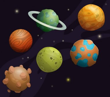 Set of cartoon fantastic planet on space background
