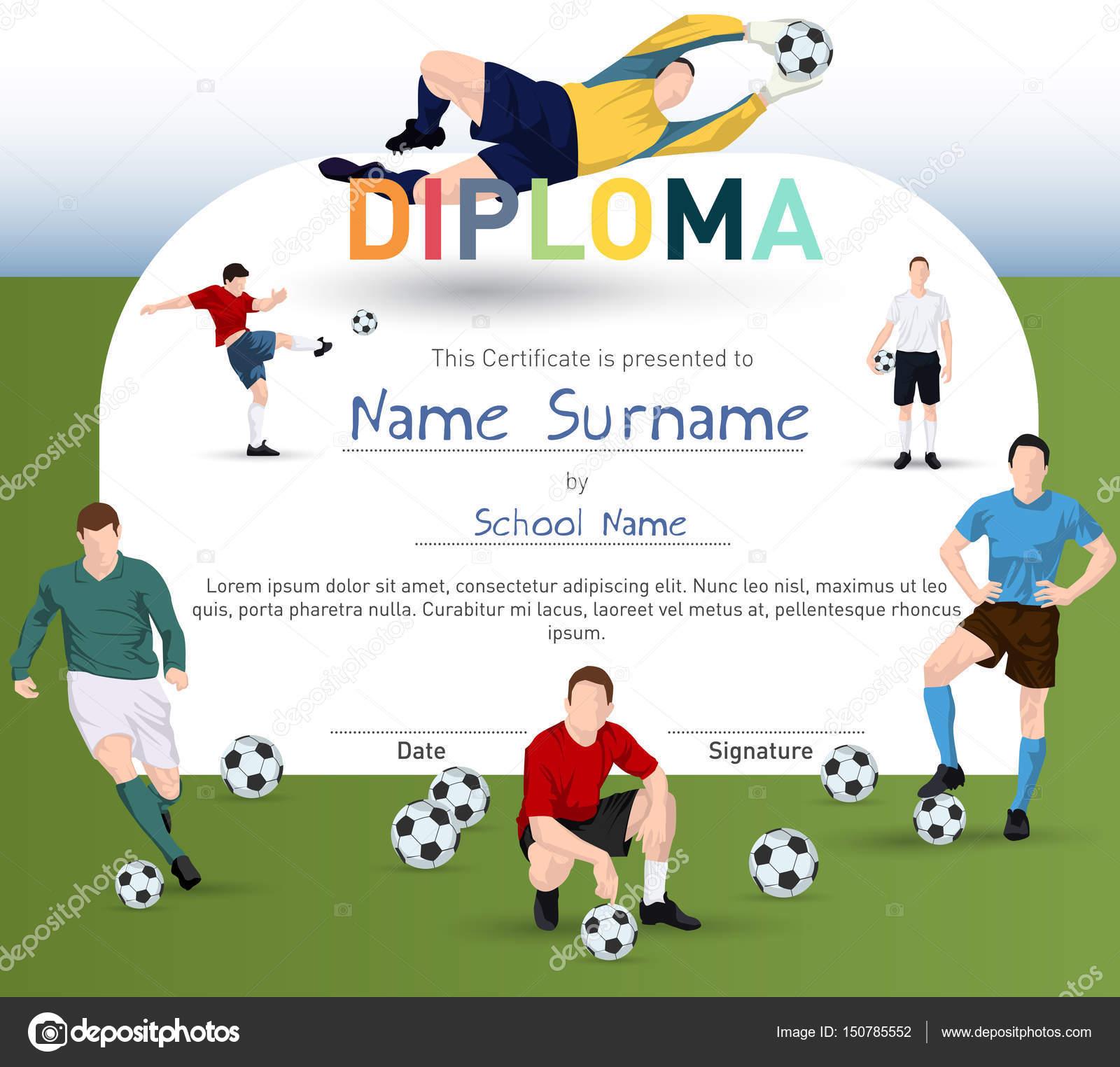 Unter dem Motto Zertifikatvorlage Fußball — Stockvektor © levente ...