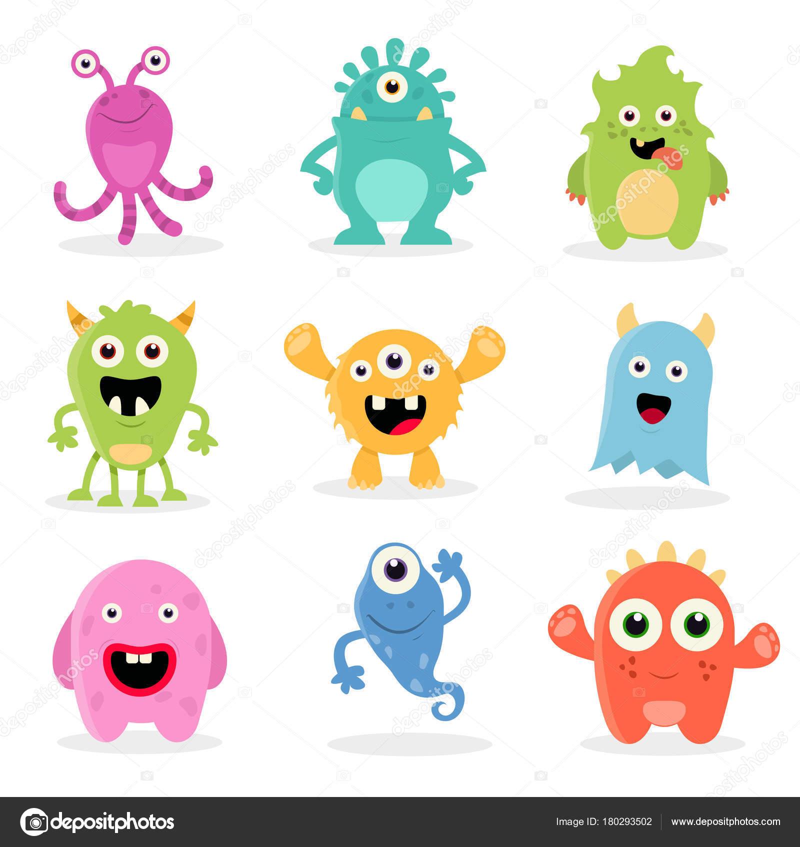 monstruos de dibujos animados lindo archivo imágenes vectoriales