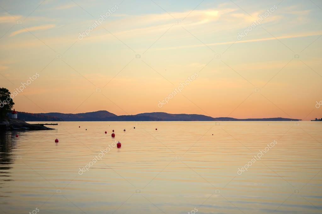 Sunset sea coast at sunset