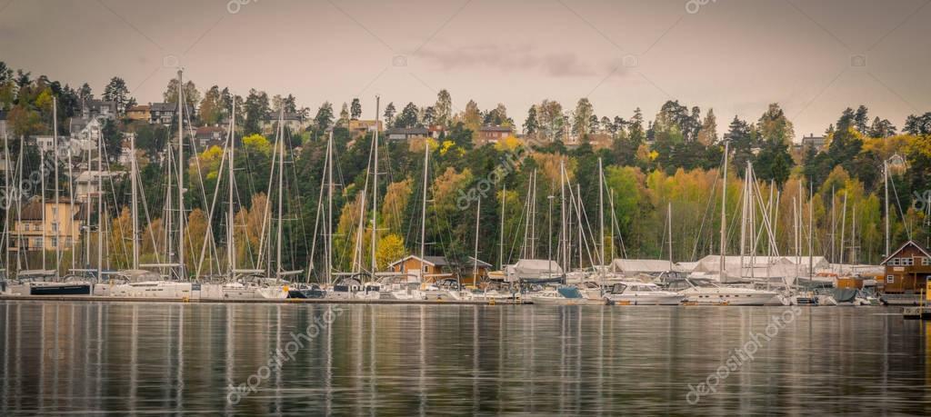 Autumn Harbor with many jachts