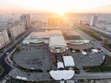 KYIV, UKRAINE - APRIL 21, 2017: Aerial view of International Exhibition Centre in Kyiv, Ukraine stock vector