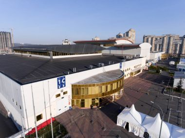 KYIV, UKRAINE - APRIL 21, 2017: Building of International Exhibition Centre in Kyiv, Ukraine stock vector