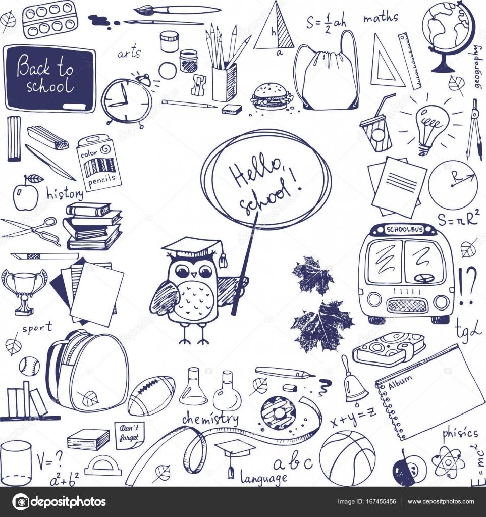 Doodle School Items Background