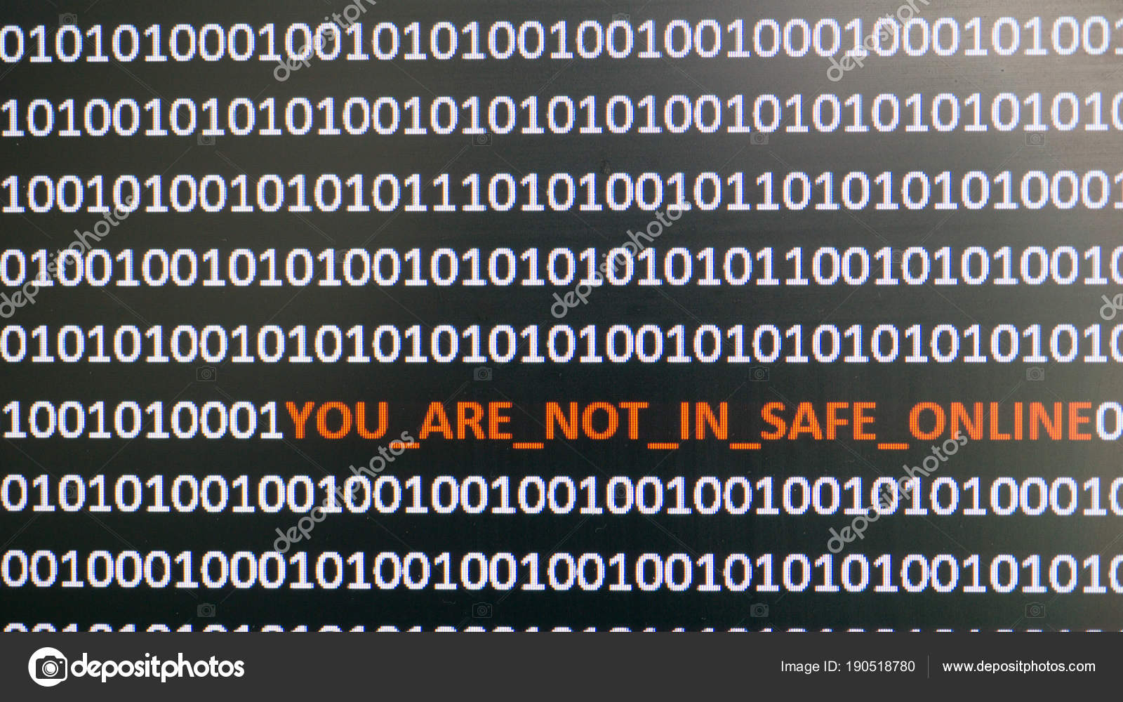Computer screen shot with binary code and warning text, concept for