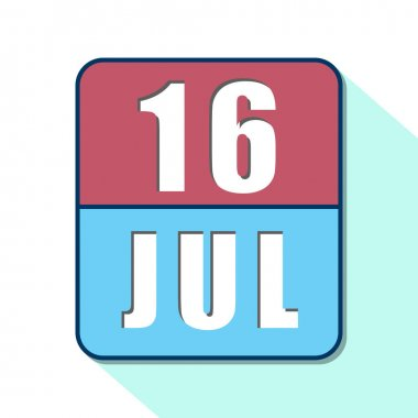 july 16th. Day 16 of month,Simple calendar icon on white background. Planning. Time management. Set of calendar icons for web design. summer month, day of the year concept