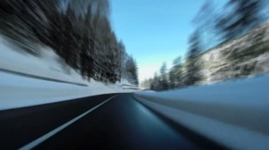 Snow road car driving street winter landscape speeding