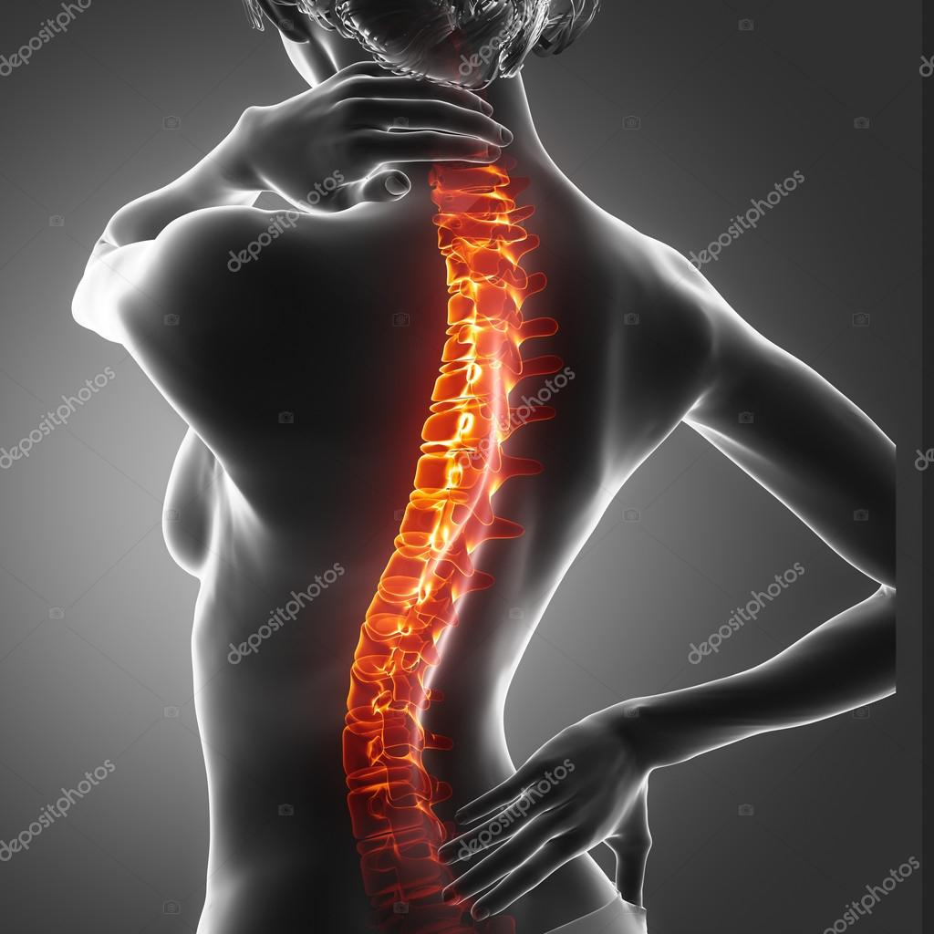 woman has pain in neck and back