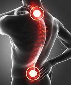 uomo ha dolore nella schiena e collo