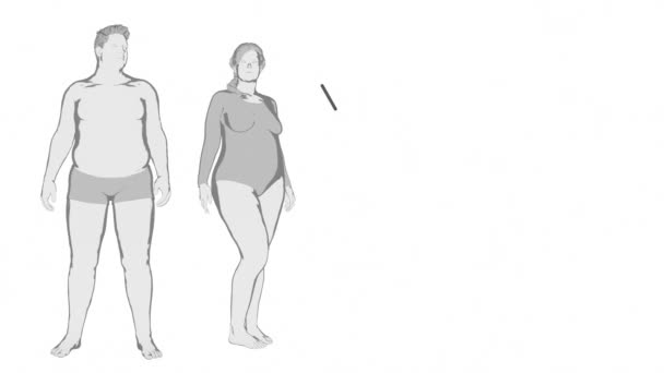 obese woman and man losing weight
