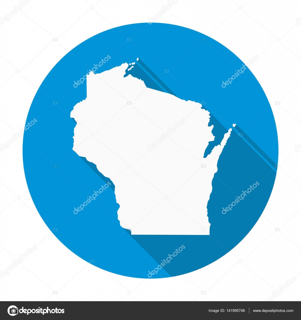 Wisconsin map flat icon stock vector nirodesign 141995746 wisconsin map flat icon stock vector gumiabroncs Image collections