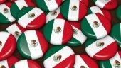 Mexická vlajka na pozadí odznaky