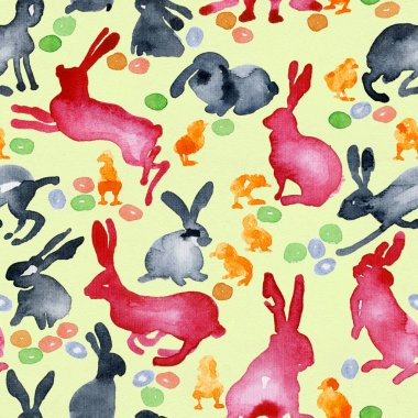 Rural background with chicken, eggs and hares. Easter pattern. Watercolor. Illustration