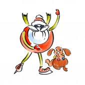 Nový rok, Vánoce, sváteční plakát. Veselém, šťastný, atletický, Santa Claus. Mrazivý, zima, zima Santa Claus. Zemité, žlutá, aktivní jezevčík pes. Pozdrav noci, věnec. Akvarelem. Ilustrace