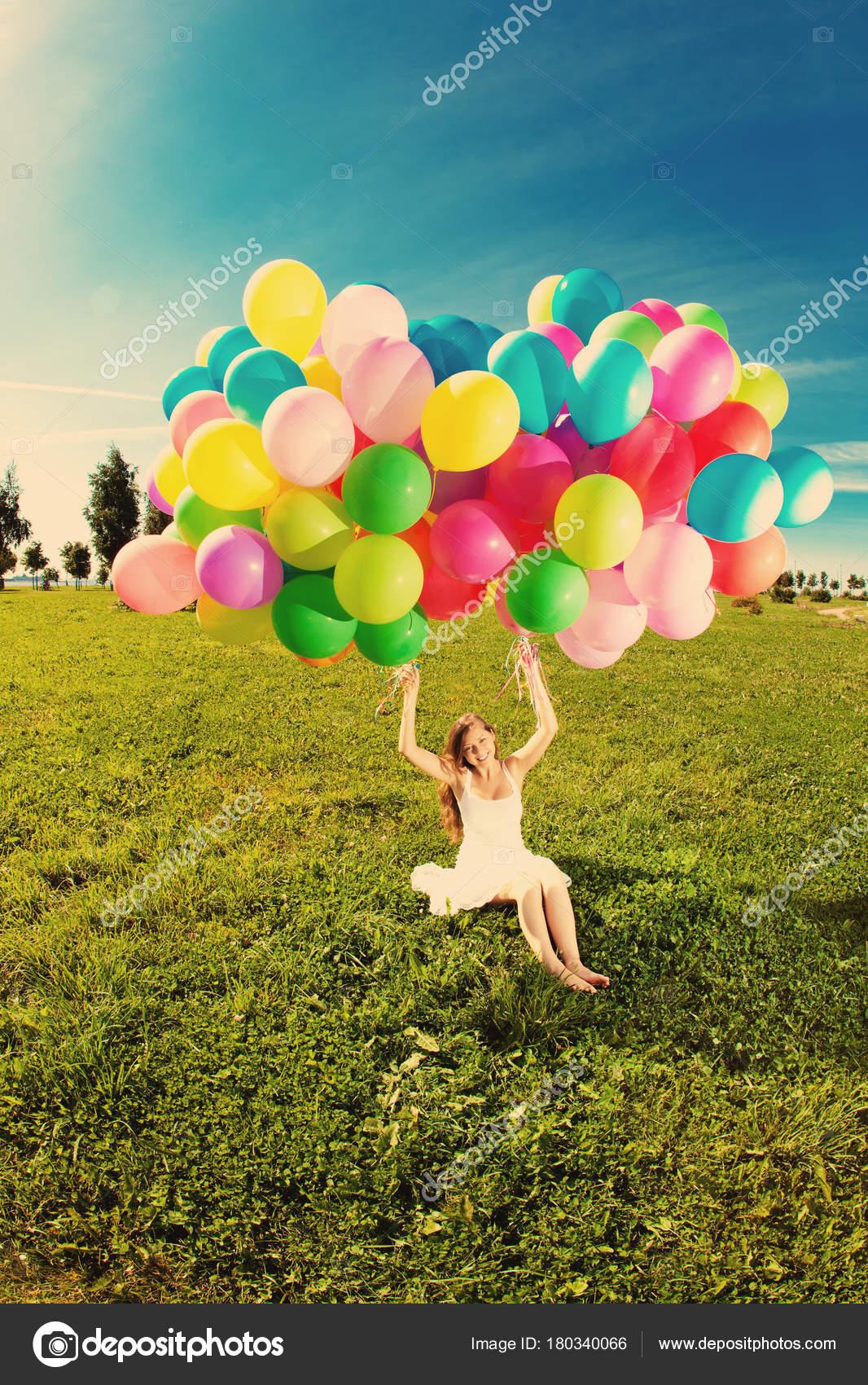 Happy Birthday Woman Sky Rainbow Colored Air Balloons Hands Sunny Stock Photo