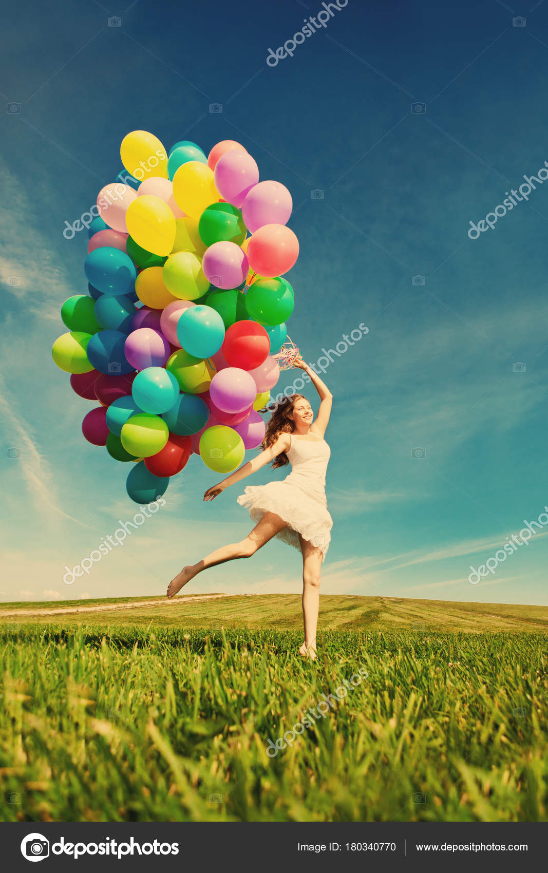 Happy Birthday Woman Sky Rainbow Colored Air Balloons Her Hands Stock Photo