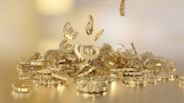 3d rendering of euro signs gathering in a heap