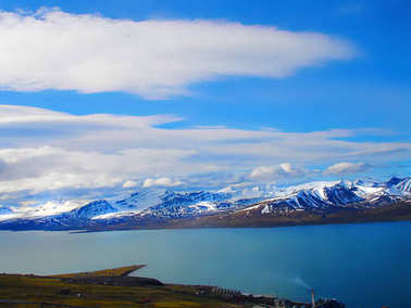 Svalbard. view from Mount Olaf. Norway. A tourist route