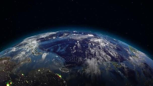 Realistické země otočení v prostoru (smyčka). Na planetě Zemi je viditelná změna dne a noci, s správnou rotaci v bezešvé smyčka. Existují města, s nočním osvětlením