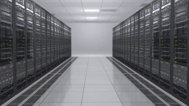 3D vykreslování moderních pracovních datových serverů s blikající LED. Serverovna v data center