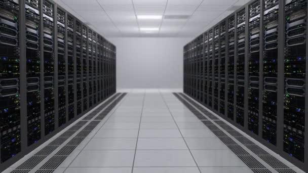 3D-Rendering moderner, funktionierender Datenserver mit blinkenden LEDs. Serverraum im Datumszentrum