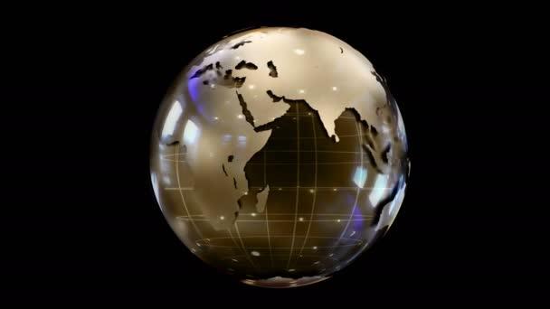 Abstraktní stylizovaná rotující koule planety. Tvůrčí a technologický design planety Země. Světlý a barevný designový prvek nebo pozadí, které bude zdobit jakýkoli video materiál. Smyčka