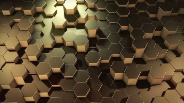 Eine abstrakte sechseckige geometrische goldene Oberfläche bewegt sich zyklisch im virtuellen Raum. Chaotische Schwingungen geometrischer Formen. Schaffung einer dynamischen Wand aus Sechsecken