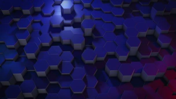 Abstraktní šestiúhelníkový geometrický povrch se cyklicky pohybuje ve virtuálním prostoru. Chaotické vibrace geometrických tvarů. Vytváření dynamické stěny šestiúhelníků