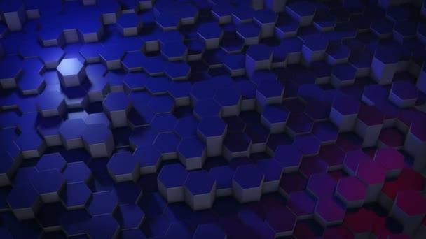 Eine abstrakte sechseckige geometrische Oberfläche bewegt sich zyklisch im virtuellen Raum. Chaotische Schwingungen geometrischer Formen. Schaffung einer dynamischen Wand aus Sechsecken
