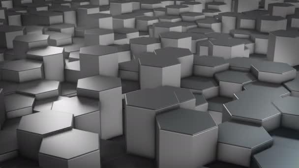 Abstraktní šestihranný geometrický kovový povrch se cyklicky pohybuje ve virtuálním prostoru. Chaotické vibrace geometrických tvarů. Vytváření dynamické stěny šestiúhelníků