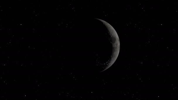 Měsíční oběžná dráha. Měsíc na pozadí vesmíru s osvětlenými krátery a měsíční půdou. Prvky tohoto snímku poskytla NASA