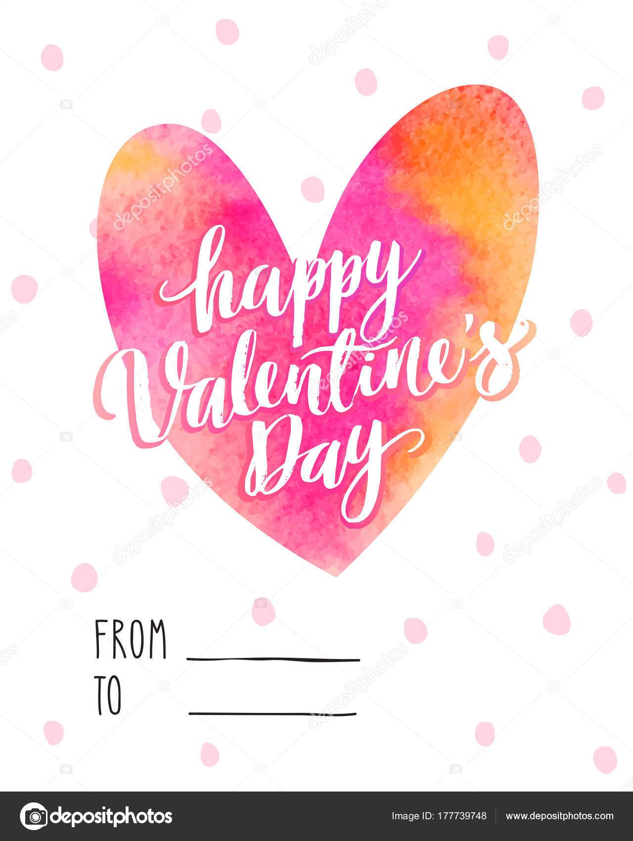 Valentinstag Karten mit Aquarell Herz — Stockvektor © picsgeek ...