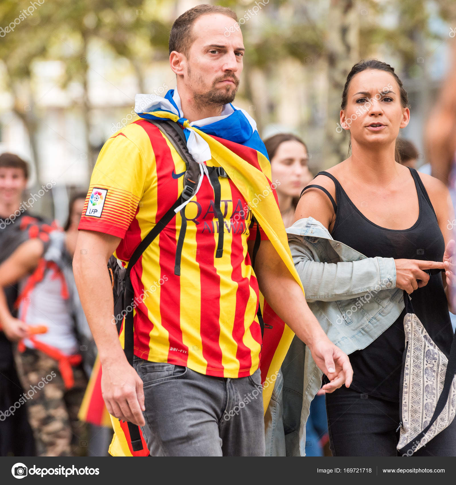 Barcelona Spain October 3 2017 People Demonstration For Catalonia Independence In Barcelona City Centre Close Up Stock Editorial Photo C Ggfoto 169721718