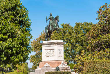 Horse sculpture of King Philip IV in Madrid, Spain. Copy space for text.