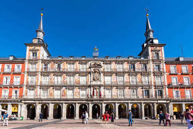 MADRID, SPAIN - SEPTEMBER 26, 2017:View of the building and the square. Copy space for text.