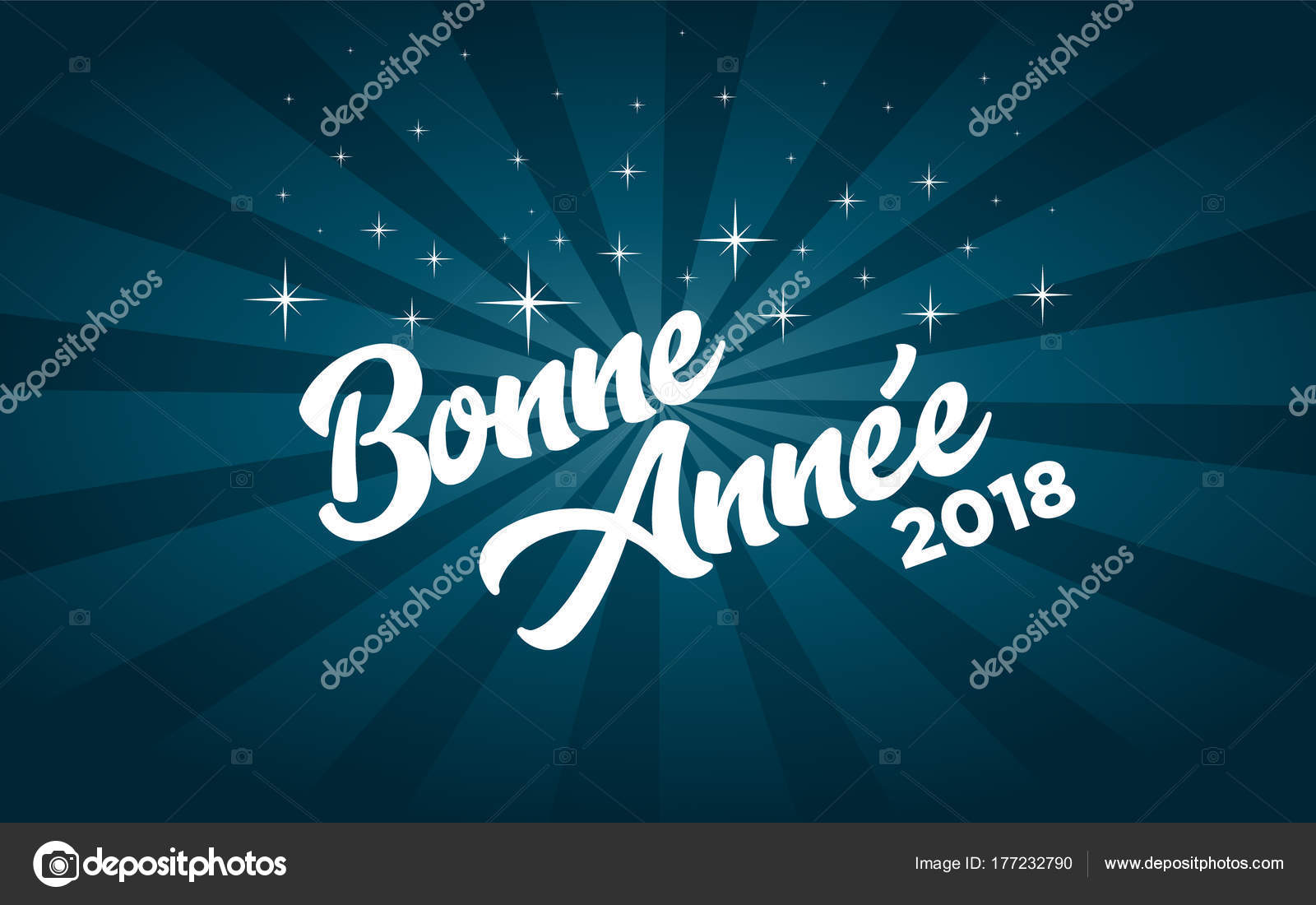 french happy new year 2018 greeting card stock vector