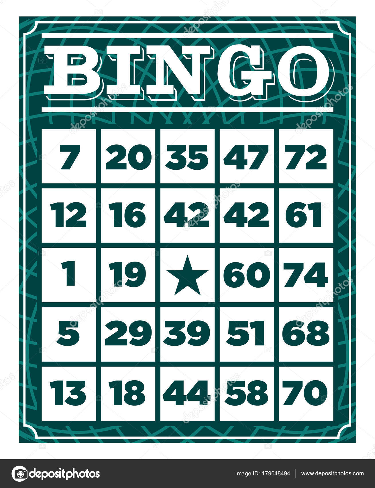 Retro Vintage Bingo Game Card Template Stock Vector Mictoon