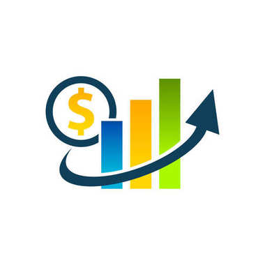 Dollar graphic chart icon with swoosh arrow