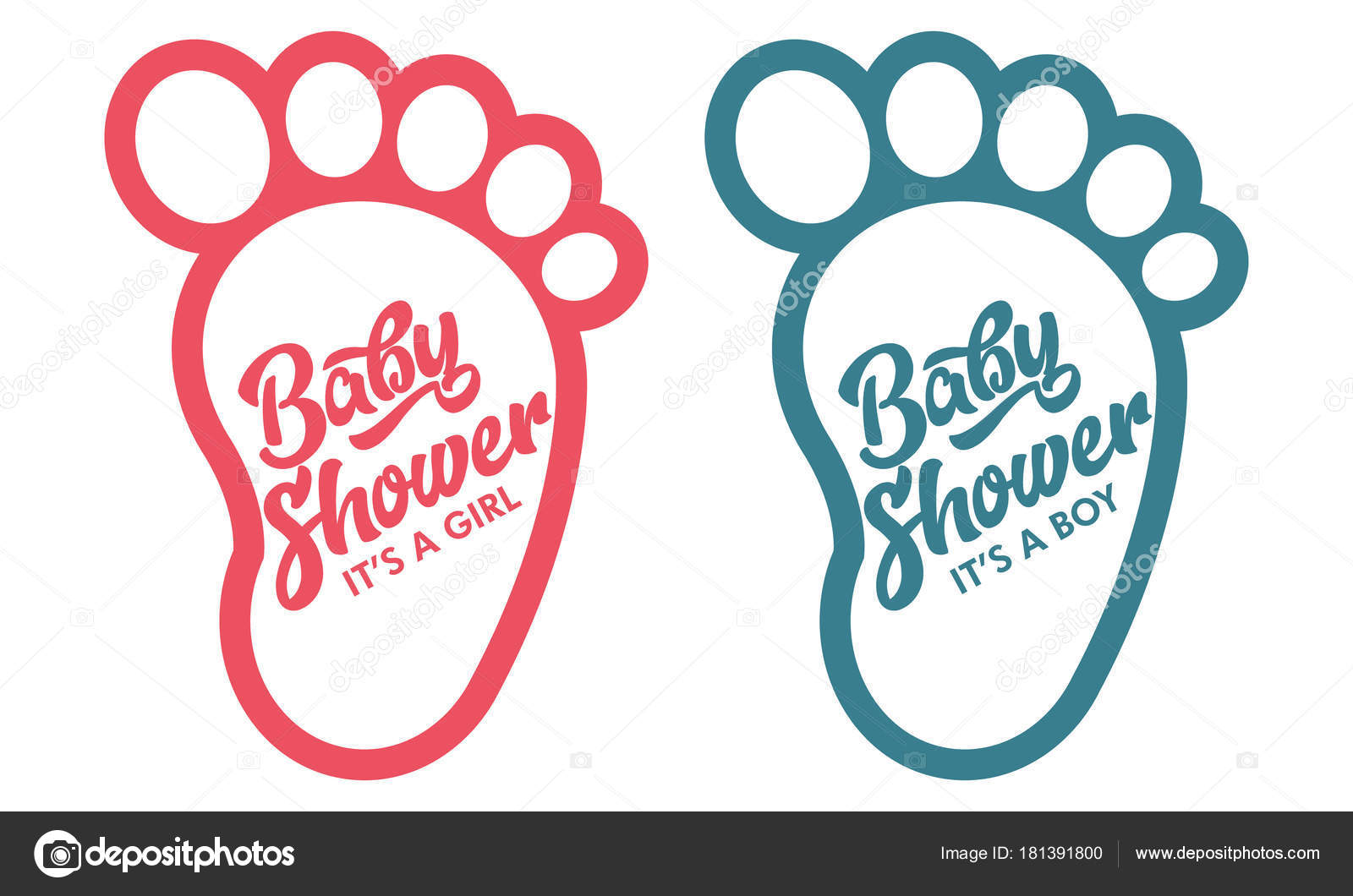 Baby Foot Baby Shower Invite Greeting Cards Stock Vector C Mictoon