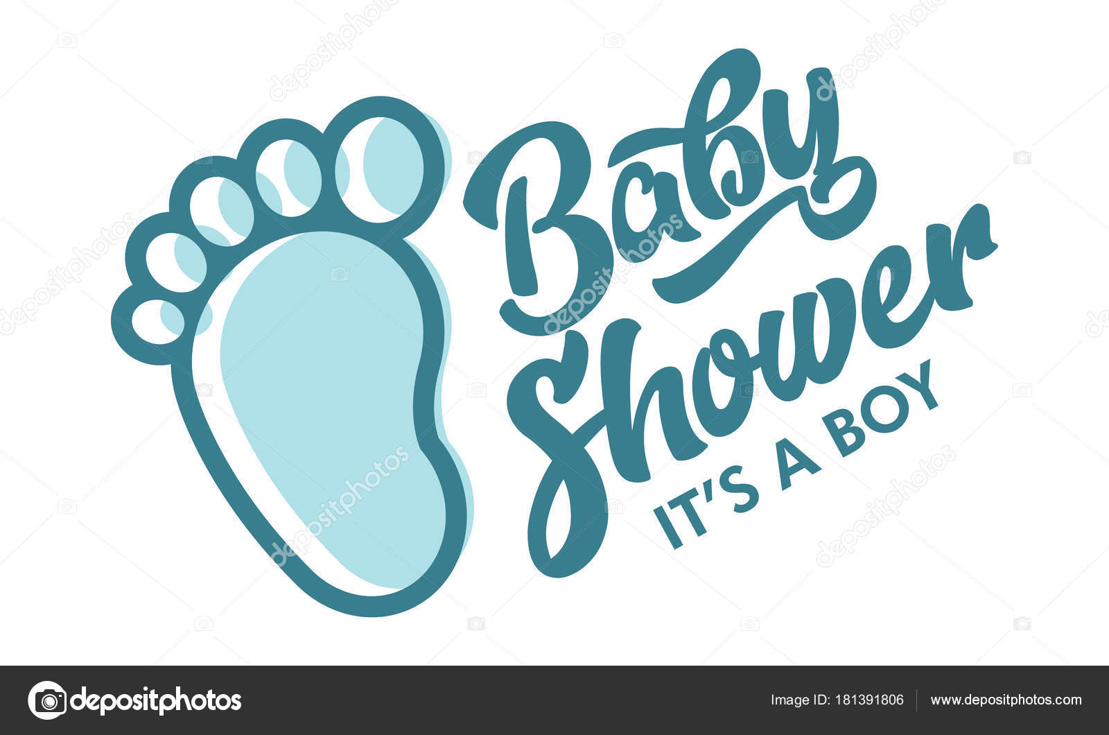 Blue Baby Foot Baby Shower Invite Greeting Card Stock Vector