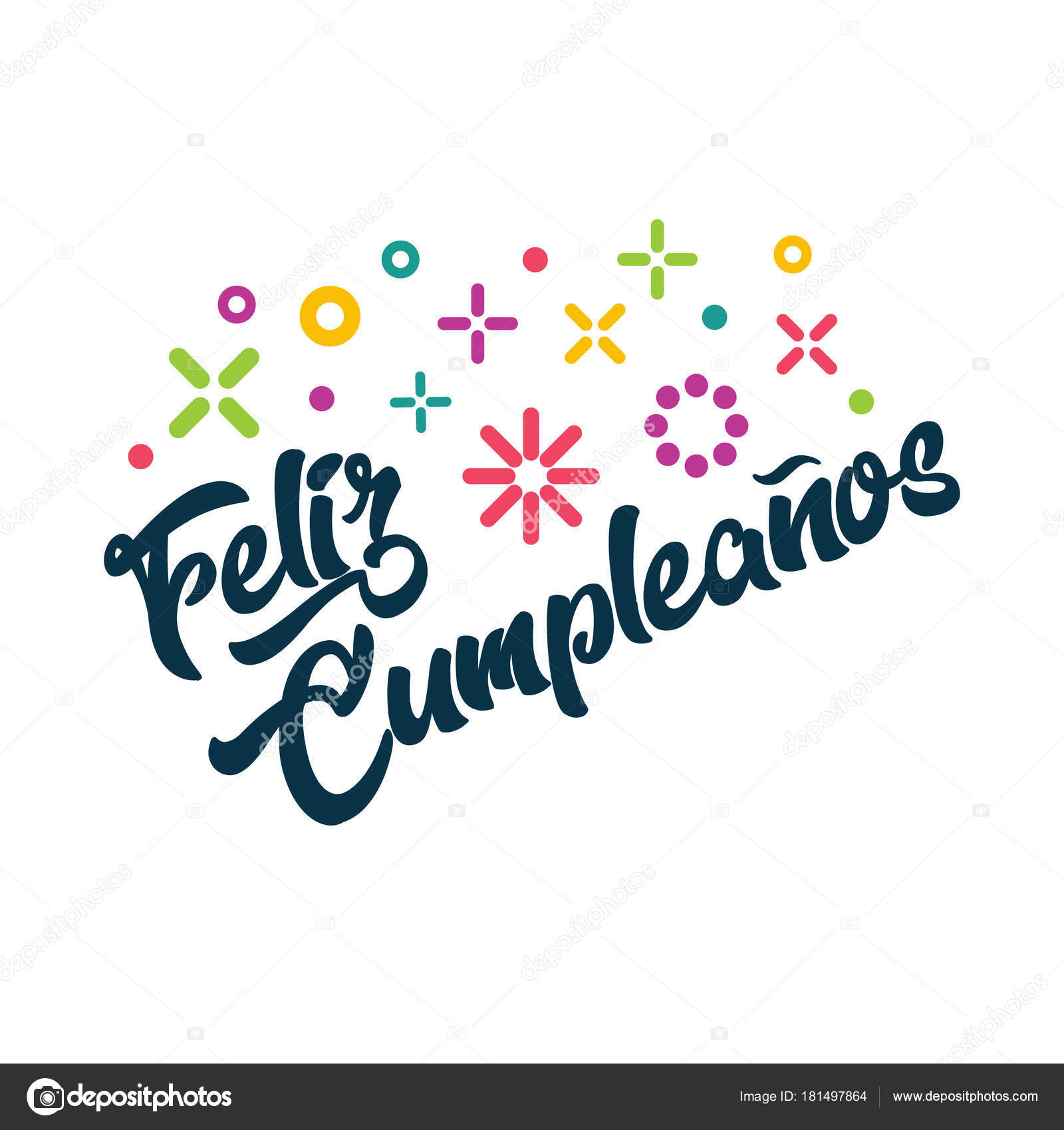 feliz cumpleanos spanish happy birthday greeting invitation card stock vector