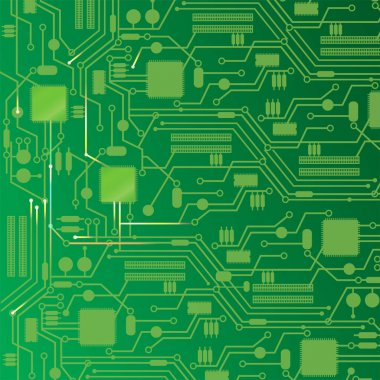 Computer circuit board design background.