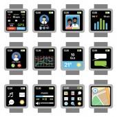 Čtvercové smartwatch. Aplikace na obrazovce