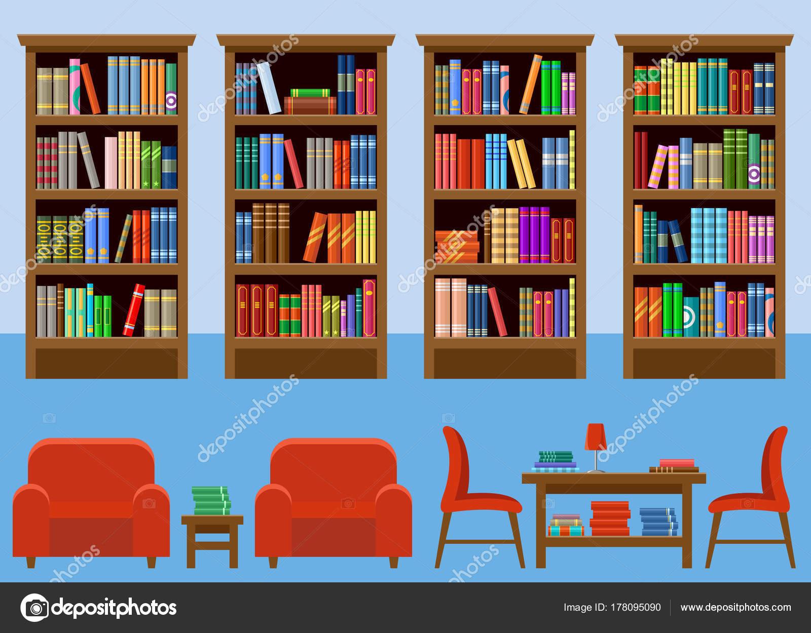 Interior Books u2014 Stock Vector Library room