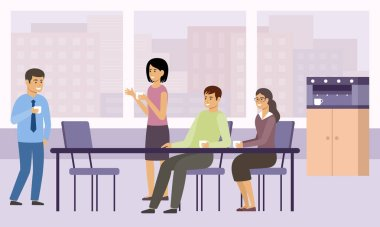 Office coffee break. Lunch. Managers relax and talk in the kitchen. Vector flat illustration.