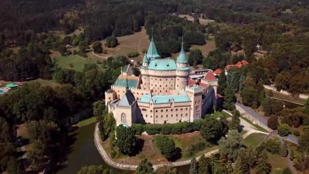 Letecký pohled na slavného zámku Bojnice, Slovensko