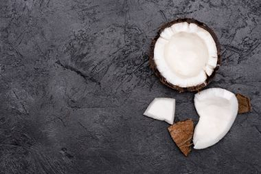 Broken healthy coconut
