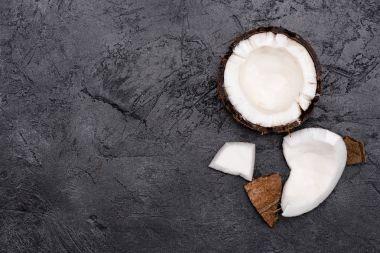 Broken healthy coconut