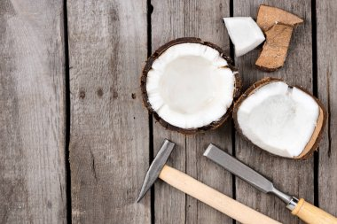 pieces of fresh tropical coconut with instruments